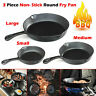 3Pcs Set Frying Pan Cast Iron Non-Stick Griddle BBQ Barbecue Grill Fry Pan Fryer