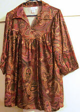 Amy Lynn of California Size M L Top Blouse Womens Paisley Multi Brown 3/4 Sleeve