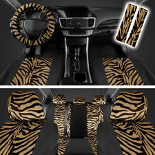 Beige/Black Zebra Animal Print Full Seat Cover Set Fits Car Truck Van SUV- 12 PC