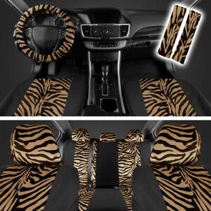 Beige/Black Zebra Animal Print Full Seat Cover Set Fits Car Truck Van SUV- 12 PC