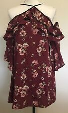 Trixxi Size Small Boho Floral Top Maroon Off The Shoulder Bell Sleeves