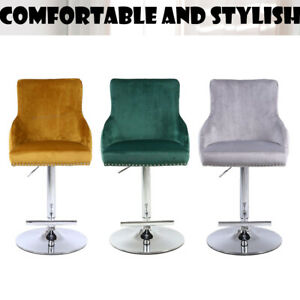 1x Fabric Tufted Bar Stool Velvet Swivel Gaslift Quality, NO CUSTOMS CHARGES