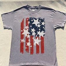 American Flag Mens Crewneck T-Shirt Gray Size Large Short Sleeve Americana Tee