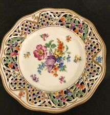 SCHUMANN BAVARIA CHATEAU DRESDEN FLORAL RETICULATED PLATE 7 1/2""