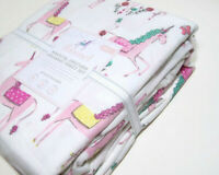 Pottery Barn Kids Pink Magical Unicorn Organic Cotton Flannel Twin Sheet Set New