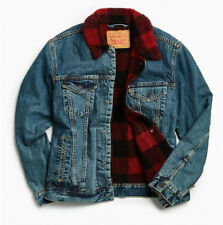 Levis Trucker Sherpa Jacket with Picnic Lining, Red and Black BNWT