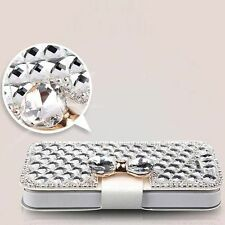 Crystal Clear Luxe Bling Noeud Cristal Diamant Portefeuille à Rabat Case pour iPhone 8