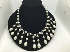 Sterling Silver 925 & Graduated Fresh Water Pearl Bib/Collar Necklace **NWT**