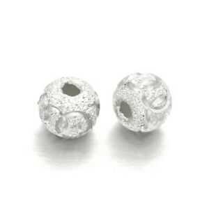 Silver 925 Sterling Silver Beads Round Spacer 6mm Pack Of 3