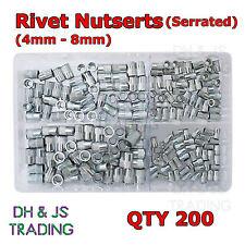 Caja de Surtido de Remache Nutserts (dentado) 4mm 5mm 6mm 8mm Tuercas de Remache Qty 200