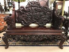 Exceptional Japanese Carved Dragon Bench