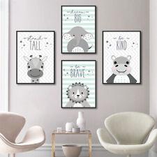 4 pcs Tribal Animal Canvas Painting Nursery Baby Kids Room Cartoon Poster Decor
