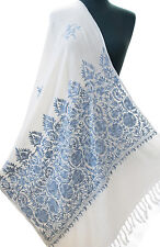 White Wool Shawl From India Embroidered With Shades of Blue Periwinkle Pashmina