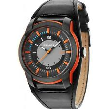 Police Apollo Men's Watch PL14438JPOB/13 Black Orange Black Leather Strap