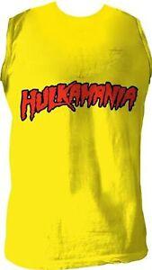 Adult Wrestling Hulk Hogan Hulkamania Sleeveless Yellow Costume T-Shirt Tee