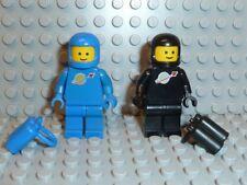 LEGO® 2x Classic Space Figur Astronaut schwarz blau Airtank 6985 6891 6971 F640