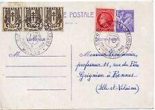 ENTIER POSTAL / EXPOSITION PHILATELIQUE DE MACON FOIRE AUX VINS 1944 RENNES