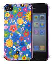 For iPhone 4 4S Quotes Pug Skull Flower Random Style Purple Back Hard Case
