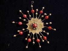"Atomic Starburst Christmas Tree 5"" Ornament Mercury Glass Bead Pink Silver  A104"