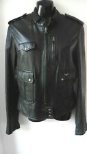 CALVIN KLEIN JEANS BLACK LEATHER JACKET SIZE M UK 12 IMMACULATE R12