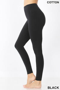 Zenana Premium Leggings Full Length S-3X Premium Plus Cotton Better Shape, Fit