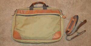LL BEAN Canvas Leather Laptop Messenger Bag Briefcase Attache Travel Tan