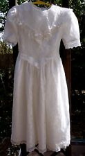 BONNIE JEAN NY WHITE LACE LONG COMMUNION FLOWER GIRL DRESSY DRESS FOR PRE-TEEN