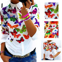 Fashion Women Long Sleeve Top Casual Loose Chiffon Shirt Floral Print Blouse New