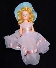 Vintage Blond Lavender Dress with Pink Ribbon & Aqua Blue Hat Story Book Doll