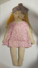 "Antique 22"" girl -hand embrd face- yellow wool yarn hair, antique cotton dress"