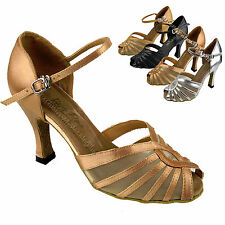 Women's Salsa Ballroom Tango Black Brown Silver Dance Shoes 2.5/3 Very Fine 2719