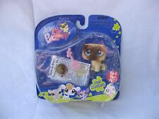 Littlest Pet Shop # 623 Messiest Brown Pug Dog Real Feel 2007 LPS New on Card