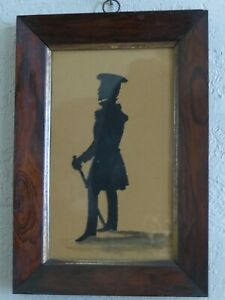 Antique Folk Art Scherenschnitte Silhouette Soldier w/ Sword 1830's Cut Out