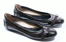 TOD´S TODS Flats Ballerinas Braun Lackleder Budapester flacher Schuh Shoes 38