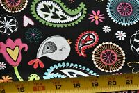 """24"""" Long, Colorful Birds Flowers Paisley Quilt Fabric, Timeless Treasures, N5280"""