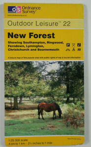 1996 Old OS Ordnance Survey Outdoor Leisure 1:25000 Map 22 New Forest Southampto