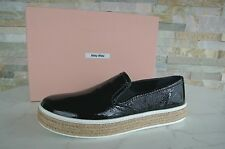 MIU MIU Gr 40 Slipper Slip On Lack Schuhe Mokassins shoes schwarz NEU UVP 350 €