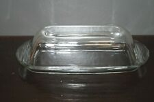 "Butter Dish Margarine Clear Glass Covered Vintage  7-1/4"" L x 2"" H"