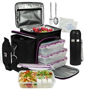 A2S Complete Meal Prep Lunch Box - 9pcs Set- Meal Containers- Thermos-3X Ice Gel