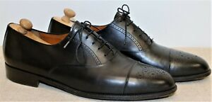 Chaussures richelieu FERRAGAMO bout fleuri cuir 11,5US 11UK 45,5FR made in Italy