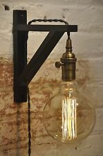Wall Sconce Gray Over Brass Light Lamp Industrial Retro Vintage Solid Wood