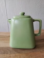 "Starbucks Square Stoneware Tea Pot with Lid  Matte Green  5"" Tall 2012"