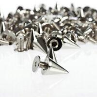 AU_ 100X 9.5mm Punk Silver Cone Spikes Screwback Studs DIY Craft Cool Rivets