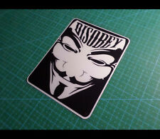 V for Vendetta DISOBEY Anonymous Guy Hacker Car Decal Reflective Sticker #07