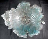 Fratelli Toso Murano Italian Glass Leaf Bowl Blue and Copper Very Good Condition