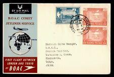 DR WHO 1953 BURMA FIRST FLIGHT BOAC RANGOON TO TOKYO JAPAN  f68671