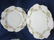 "Hermann Ohme Silesia 2 dishes plates 7.25"" dish plate with floral flower motif"