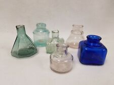 6 Antique Ink Bottles Cater's - Cobalt Blue - Higgins - Etc