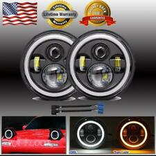 "Pair 7"" INCH Round LED Headlights Halo HI/LO Angle Eyes For Mazda RX-7 1979-1985"
