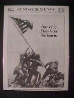 VINTAGE NEWSPAPER HEADLINE ~WORLD WAR 2 SURIBACHI IWO JIMA JAPAN FLAG WWII 1945